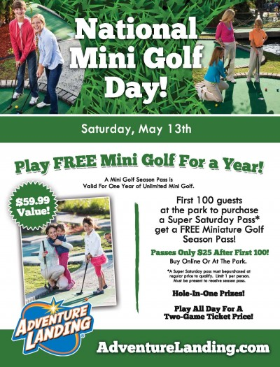 National Miniature Golf Day At Adventure Landing Sat May
